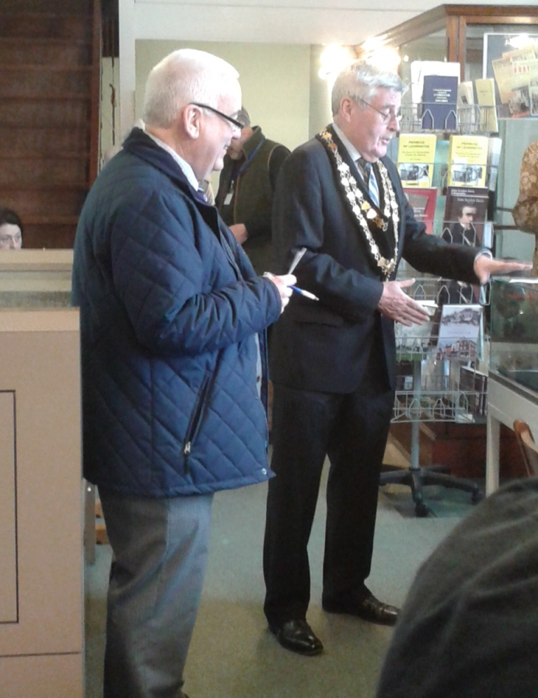 Cllr Peter Jones, Mayor of Leominster, with Geoffrey Crofts