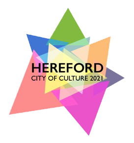 Coloured triangles making multicoloured start - HEREFORD CITY OF CULTURE 2021