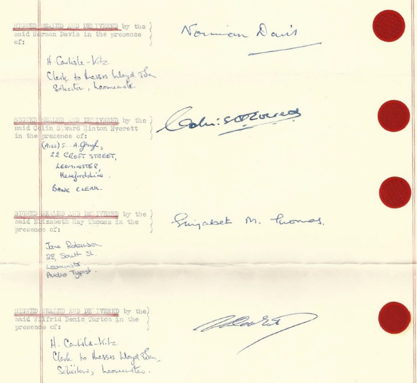 The Trustees' signatures on the 1970 Trust Deed